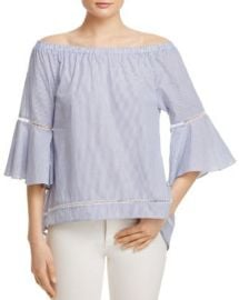 AQUA Stripe Poplin Bell Sleeve Off-the-Shoulder Top - 100  Exclusive at Bloomingdales