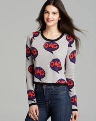 AQUA Sweater - OMG Pop Art Crop at Bloomingdales
