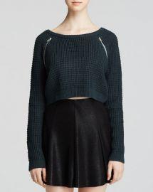 AQUA Sweater - Scoop Neck Zip Detail Crop at Bloomingdales