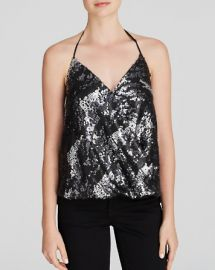 AQUA Top - Metallic Sequin Crossover Neck Halter at Bloomingdales