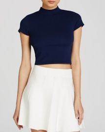 AQUA Top - Mock Neck Short Sleeve Crop at Bloomingdales