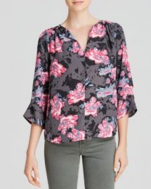 AQUA Top - Shadow Floral V-Neck Three Quarter Sleeve Printed at Bloomingdales