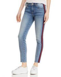 AQUA Track Stripe Frayed Skinny Jeans in Navy Red - 100  Exclusive  Women - Bloomingdale s at Bloomingdales