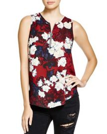 AQUA Trinity Floral Zip Sleeveless Top at Bloomingdales