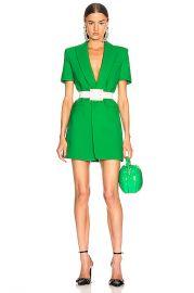 AREA Bonded Short Sleeve Blazer Dress in Kelly Green   FWRD at Forward