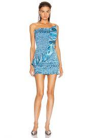 AREA Ruched Ruffle Dress in Cerulean   FWRD at Forward