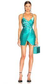 AREA Wrap Effect Dress in Aqua   FWRD at Forward