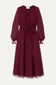 ARoss Girl x Soler - Amanda belted silk-georgette midi dress at Net A Porter