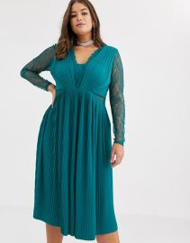 ASOS DESIGN Curve lace and pleat long sleeve midi dress   ASOS at Asos