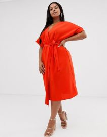 ASOS DESIGN Curve midi wrap dress   ASOS at Asos
