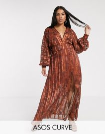 ASOS DESIGN Curve snake print maxi dress in self stripe and blouson sleeve   ASOS at Asos