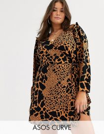 ASOS DESIGN Curve wrap mini dress with extreme sleeves in animal print   ASOS at Asos