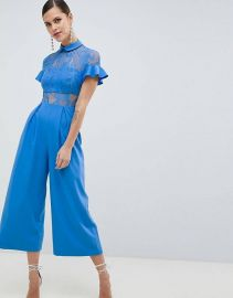 ASOS DESIGN Lace Top Jumpsuit With Culotte Leg at asos com at Asos