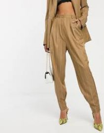 ASOS DESIGN camel stripe mansy suit tapered pants   ASOS at Asos