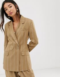 ASOS DESIGN camel stripe suit blazer with popper fastening   ASOS at Asos