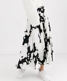 ASOS DESIGN cow print satin pleat midi skirt   ASOS at Asos