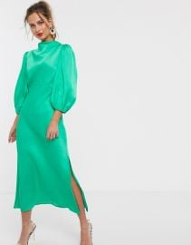 ASOS DESIGN cowl neck satin tea midi dress with puff sleeve   ASOS at Asos