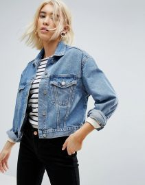 ASOS DESIGN denim jacket in midwash blue at asos com at Asos