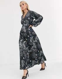 ASOS DESIGN maxi dress with puff sleeves in satin astrological print   ASOS at Asos