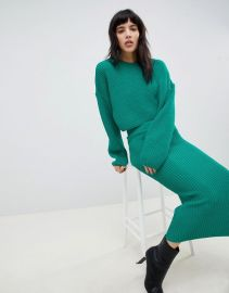 ASOS DESIGN two-piece cropped oversized sweater in rib at asos com at Asos