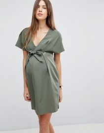 ASOS Maternity V Neck Column Mini Dress with Eyelet and Tie at asos com at Asos