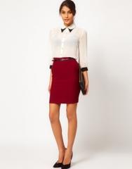 ASOS  ASOS Belted Pencil Skirt at Asos