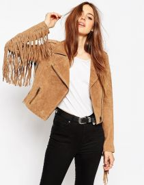 ASOS  ASOS Biker Jacket In Suede With Fringing at Asos