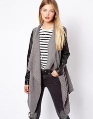 ASOS  ASOS Blanket Wrap Cardigan With Leather Look Sleeves in grey at Asos