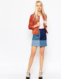 ASOS  ASOS Denim Patchwork A-Line Mini Skirt at Asos