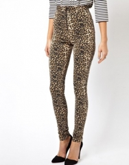 ASOS  ASOS High Waisted Jeggings in Leopard Print with Exposed Front Zip at Asos