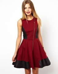 ASOS  ASOS Skater Dress With Leather Look Panels in red at Asos