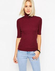 ASOS  ASOS Turtle Neck Top In Textured Rib With Short Sleeve at Asos