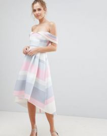 ASOS Bardot Cold Shoulder Dip Back Pastel Stripe Prom Dress at asos com at Asos