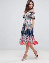 ASOS Bardot Ergonomic Floral Midi Prom Dress at asos com at Asos