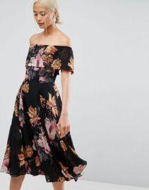 ASOS Bardot Midi Dress in Floral Print at asos com at Asos