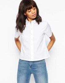 ASOS Boxy White Shirt with Short Sleeve at asos com at Asos