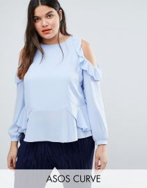ASOS CURVE Blouse With Ruffle Cold Shoulder at ASOS