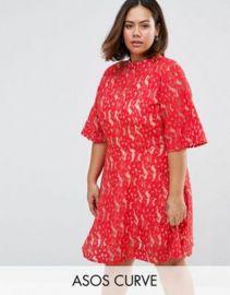 ASOS CURVE Premium Kimono Sleeve Mini Skater Dress in Lace at asos com at Asos