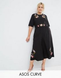 ASOS CURVE Tea Jumpsuit with Embroidery at ASOS