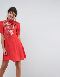 ASOS Chinoiserie Embroidered Mini Dress at Asos