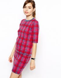 ASOS Co-ord Check Jumper In Brushed Mohair at Asos