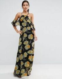 ASOS Cold Shoulder Floral Cami Maxi Dress at asos com at Asos