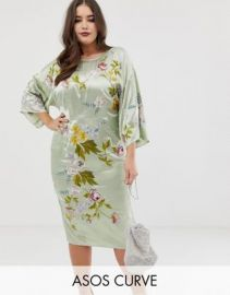 ASOS DESIGN Curve kimono midi pencil dress in satin floral embroidery at asos com at Asos