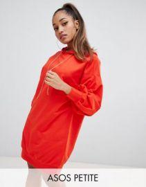 ASOS DESIGN Petite hoodie sweat dress with rhinestone puller   ASOS at Asos