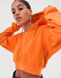 ASOS DESIGN cropped hoodie with half zip in orange   ASOS at Asos