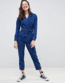 ASOS DESIGN denim blazer jumpsuit in midwash blue   ASOS at Asos