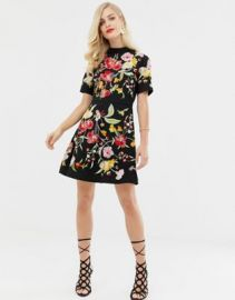 ASOS DESIGN embroidered mini dress with high neck and open back   ASOS at Asos