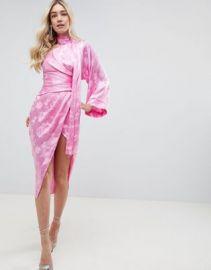 ASOS DESIGN kimono sleeve sash midi dress in soft jacquard   ASOS at Asos