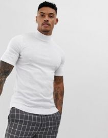 ASOS DESIGN knitted muscle fit turtleneck t-shirt in white   ASOS at Asos