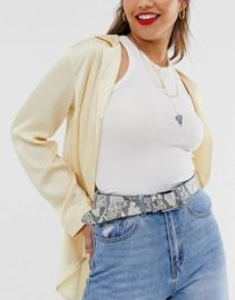 ASOS DESIGN leather snake print jeans belt with silver buckle   ASOS at Asos